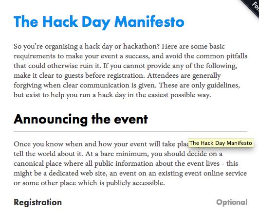 Hackday manifesto