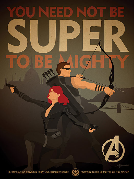 Black Widow Hawkeye Propaganda Poster