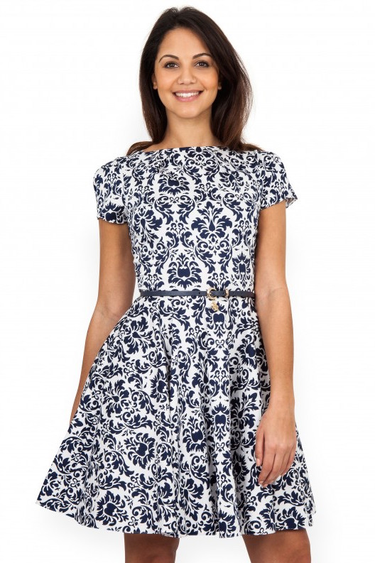 navy_damask_print_dress